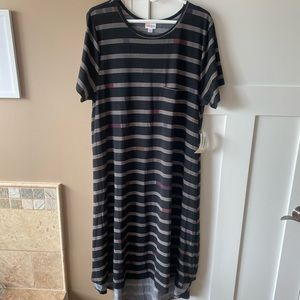 LulaRoe 3XL Carly Black & Stripes